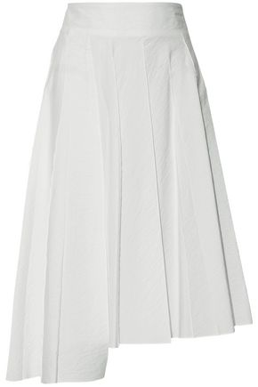 BRUNELLO CUCINELLI Pleated cotton-blend midi skirt