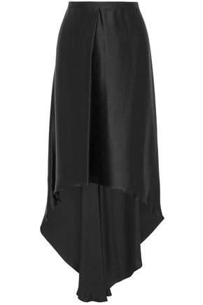 BRUNELLO CUCINELLI Grosgrain-trimmed pleated satin skirt