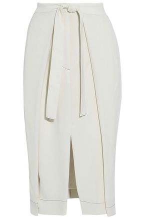 BRUNELLO CUCINELLI Tie-front pleated crepe skirt