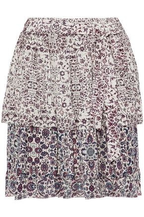 L'AGENCE Belted layered printed silk-chiffon mini skirt
