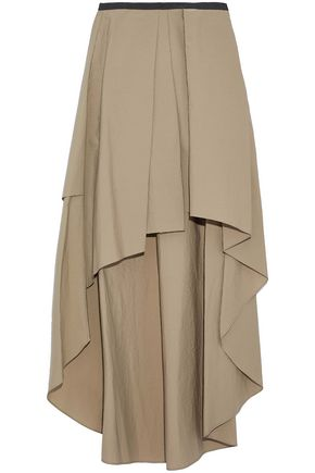 BRUNELLO CUCINELLI Grosgrain-trimmed pleated cotton-blend skirt