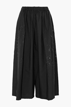 BRUNELLO CUCINELLI Sequin-embellished cotton-blend wide-leg pants