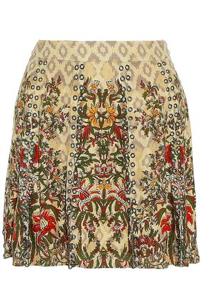 HAUTE HIPPIE Sagat eyelet-embellished printed silk mini skirt