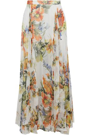 HAUTE HIPPIE Pleated floral-print silk-chiffon maxi skirt