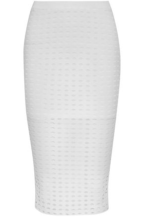 T by ALEXANDER WANG Laser-cut stretch-jersey midi skirt