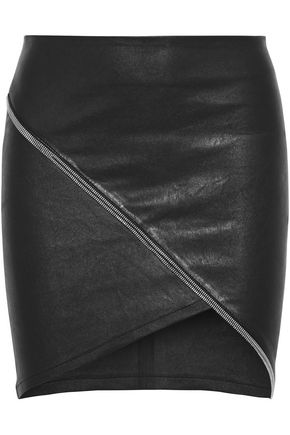 RTA Ivy wrap-effect zip-trimmed leather mini skirt