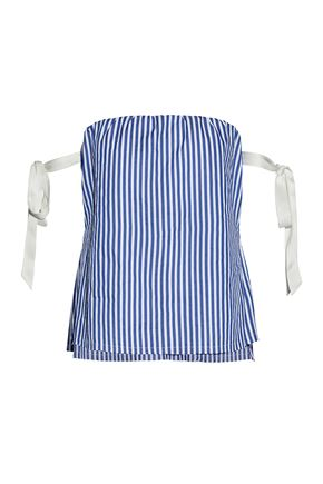 RTA Off-the-shoulder silk satin-trimmed striped cotton-poplin top