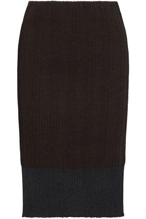 JIL SANDER Paneled iridescent ribbed-knit skirt
