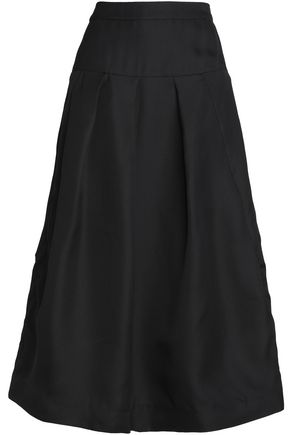 CO Flared pleated silk midi skirt