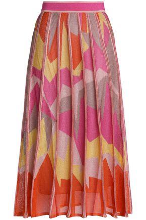 M MISSONI Pleated metallic intarsia-knit midi skirt