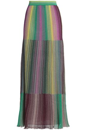 M MISSONI Metallic striped crochet-knit maxi skirt