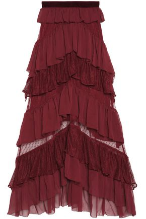 PERSEVERANCE Velvet-trimmed layered lace and crepe maxi skirt