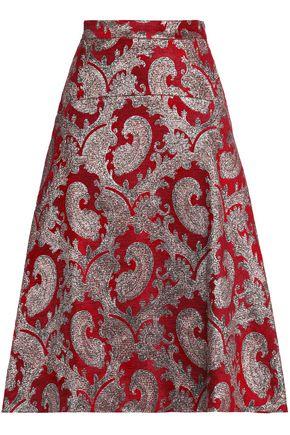 PERSEVERANCE Floral-jacquard midi skirt