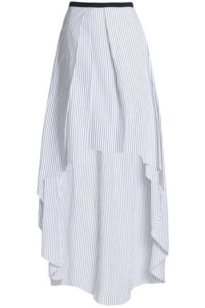 BRUNELLO CUCINELLI Asymmetric pinstriped cotton-poplin maxi skirt