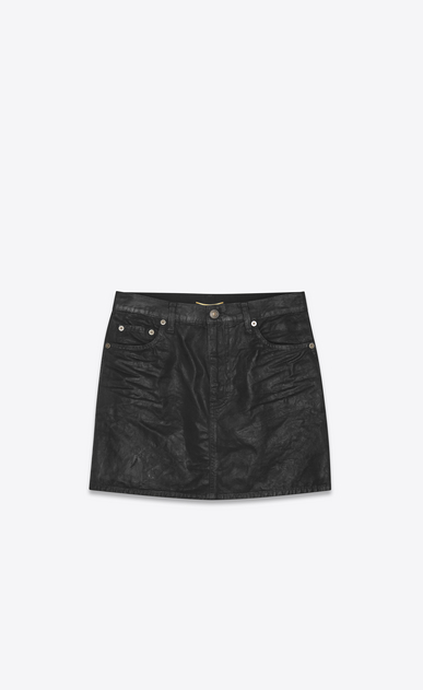 SAINT LAURENT Short Skirts Woman Skirt in black coated canvas a_V4