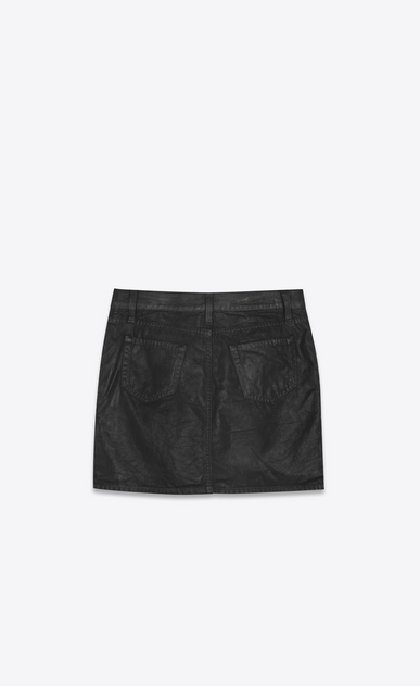 SAINT LAURENT Short Skirts Woman Skirt in black coated canvas b_V4