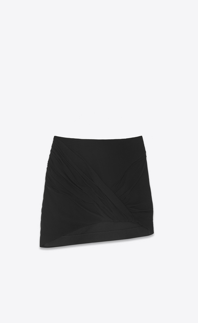 SAINT LAURENT Short Skirts Woman Draped asymmetrical mini skirt in black silk georgette a_V4
