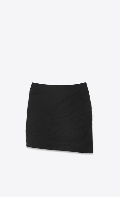 SAINT LAURENT Short Skirts Woman Draped asymmetrical mini skirt in black silk georgette b_V4