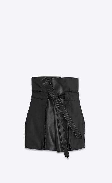 SAINT LAURENT Short Skirts Woman High-waisted mini skirt with black leather tie a_V4