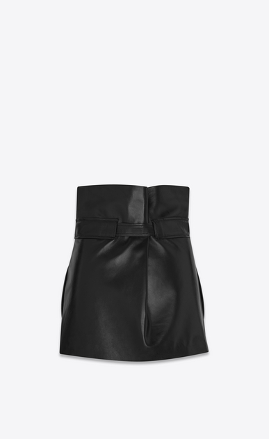 SAINT LAURENT Short Skirts Woman High-waisted mini skirt with black leather tie b_V4