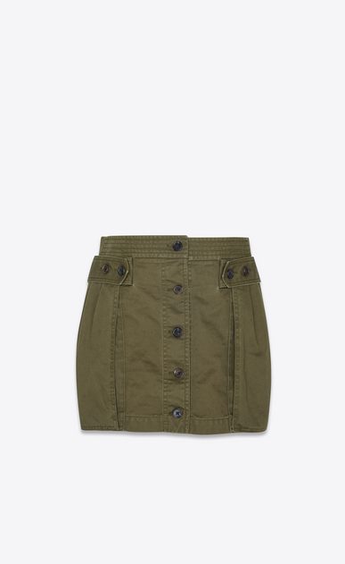SAINT LAURENT Short Skirts Woman Safari skirt in khaki cotton gabardine a_V4