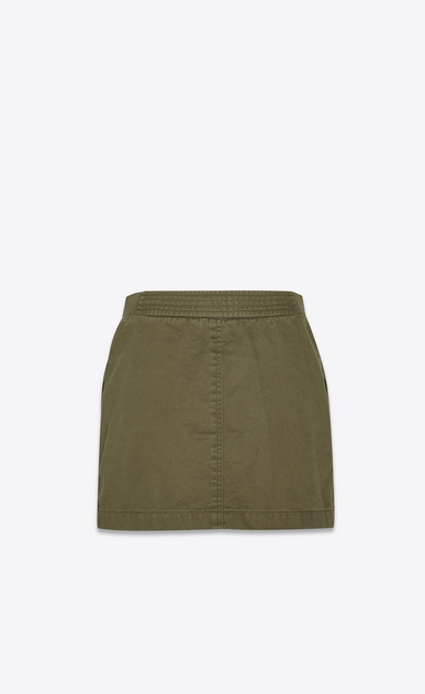 SAINT LAURENT Short Skirts Woman Safari skirt in khaki cotton gabardine b_V4