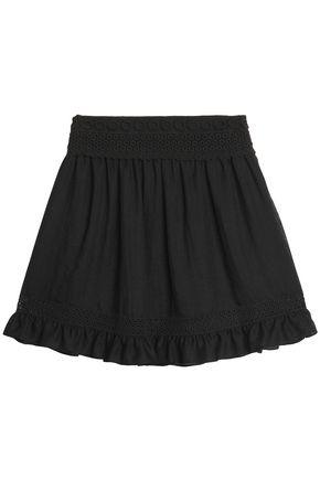 McQ Alexander McQueen Macramé-trimmed gauze mini skirt