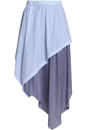 OPENING CEREMONY Asymmetric striped cotton-blend midi skirt