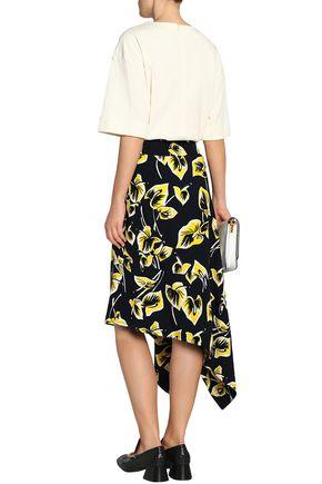 MARNI Asymmetric printed matelassé midi skirt