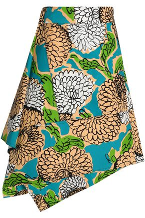 MARNI Asymmetric floral-print cotton skirt