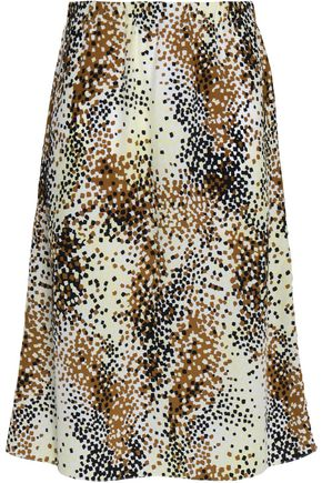 MARNI Printed silk-crepe skirt