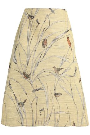 MARNI Printed silk-blend skirt