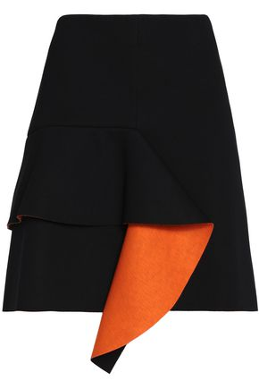 MARNI Draped two-tone neoprene mini skirt