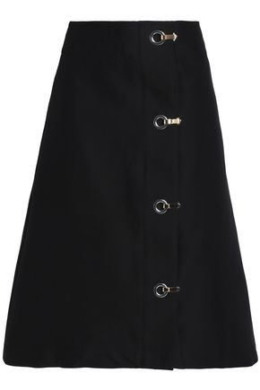 MARNI Eyelet-embellished cotton midi skirt