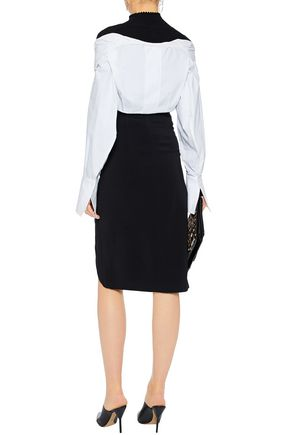ROSETTA GETTY Wrap-effect crepe pencil skirt