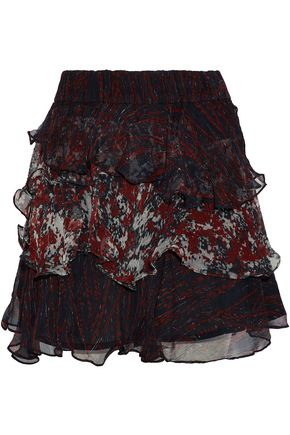 IRO Ruffled printed georgette mini skirt
