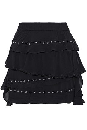 IRO Tiered eyelet-embellished ruffled chiffon mini skirt