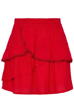 IRO Carmela layered crepe de chine mini skirt