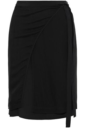 DIANE VON FURSTENBERG Belted layered silk-chiffon and crepe de chine skirt