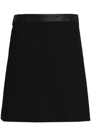 BELSTAFF Leather-trimmed crepe mini skirt