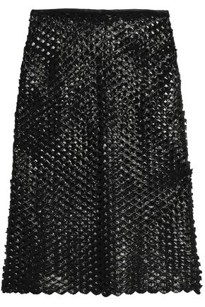 ISABEL MARANT Embroidered coated cotton-blend skirt