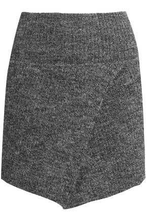 ISABEL MARANT ÉTOILE Asymmetric mélange wool-blend mini skirt