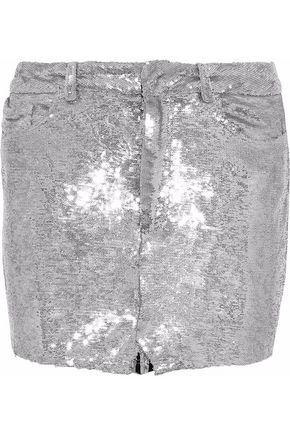 IRO Sequined jersey mini skirt