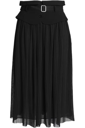 CLAUDIE PIERLOT Belted plissé-georgette midi skirt