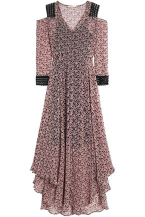 MAJE Floral-print crepe maxi skirt