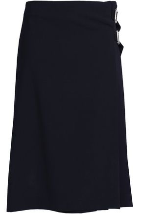 CLAUDIE PIERLOT Belted pleated crepe wrap skirt