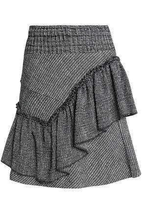 MAJE Ruffled cotton-blend jacquard mini skirt