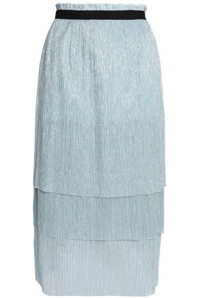 MAJE Tiered metallic knitted midi skirt