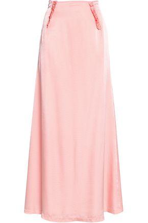 CLAUDIE PIERLOT Ruffle-trimmed textured-satin maxi skirt