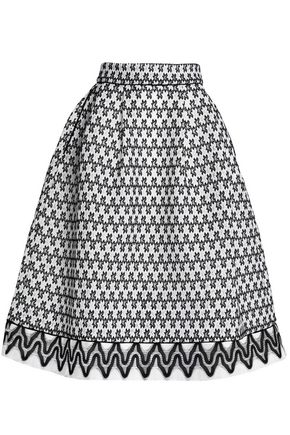MAJE Pleated jacqard skirt